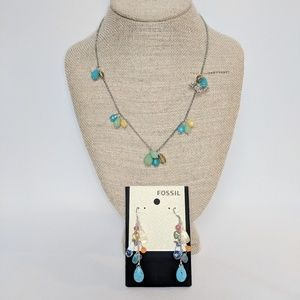 Fossil Necklace & Matching Earrings Semi Precious